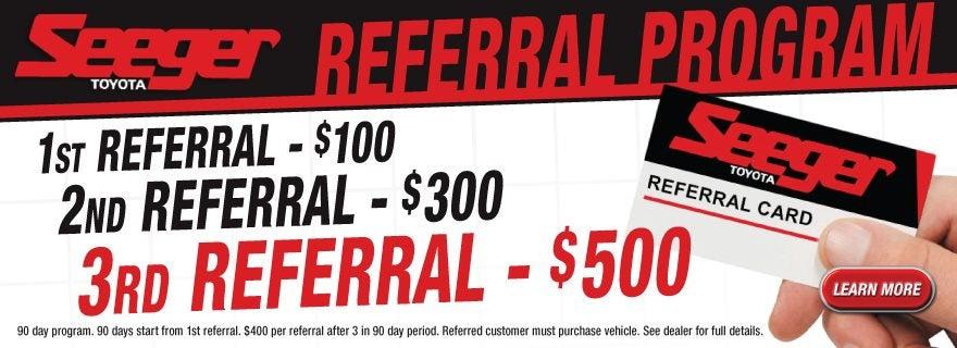 Seeger Toyota Referral Program Bonus In St Robert Mo